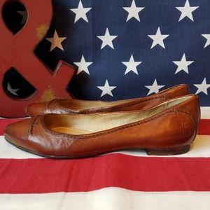 Frye Olive Seam Ballet Vintage Leather Look Flats